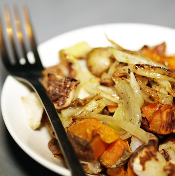 Roasted Potatoes, Sweet Potatoes & Turnips with Shallots