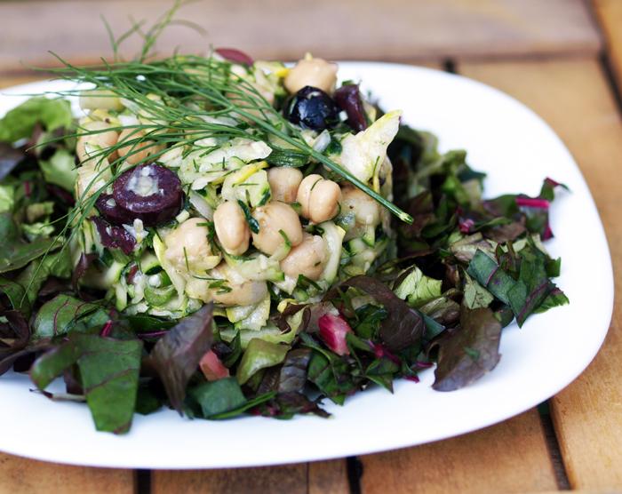 Mostly Raw Mediteranean Squash Salad