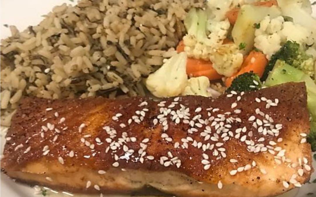 April Seafood Special – Pan Seared, Honey-Glazed Salmon