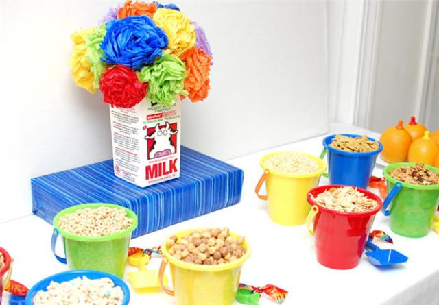 Cereal in pails for a cute breakfast bar!