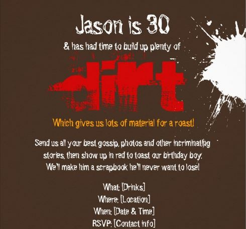 Dirty Thirty boys birthday invitations