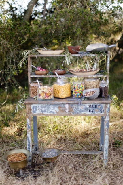 Rustic Vintage Wedding Cereal Bar