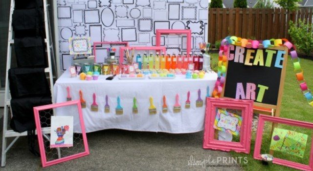 Art Party Table set up