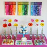 Art Party colorful dessert table