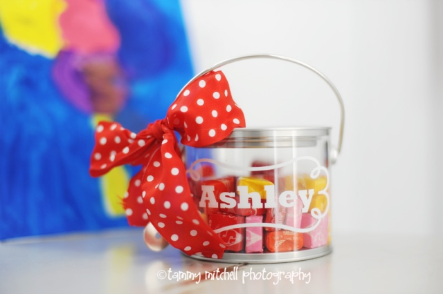 Art party favor pain buckets with candy