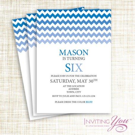 Blue ombre party invitation