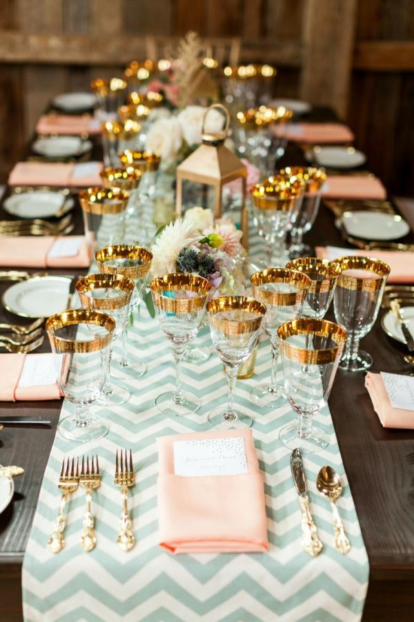 mint peach and gold tablescape