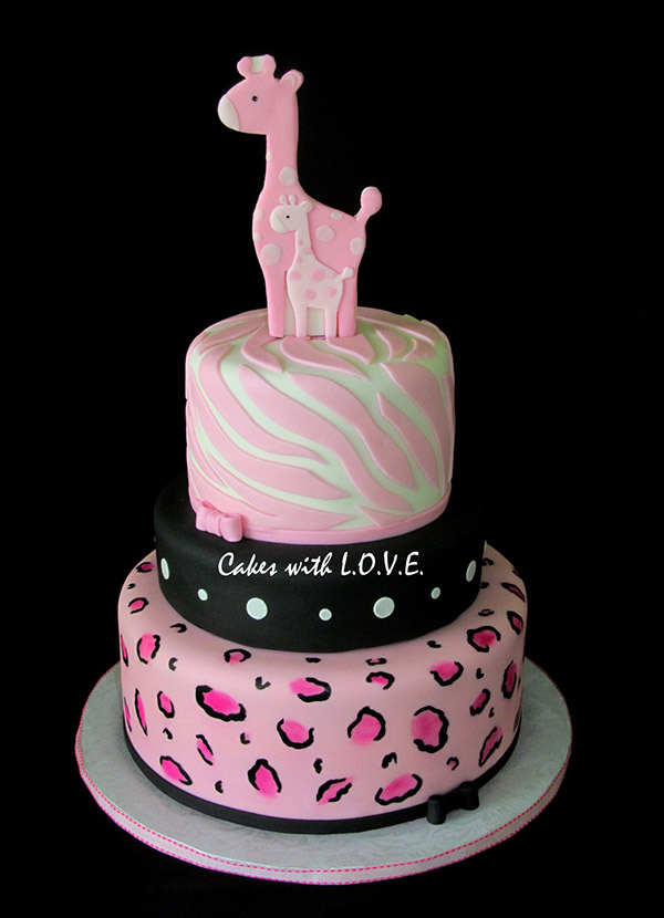 Love this pink safari baby shower cake!