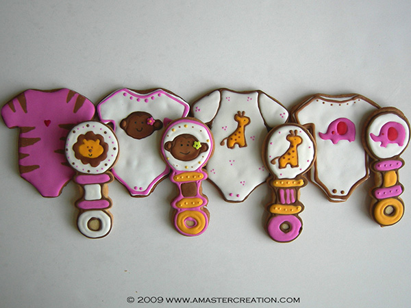 Oh my goodness these girls safari themed onesie cookies are amazing!