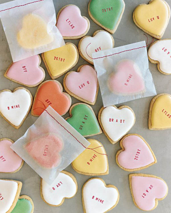 adorable Conversation heart cookies