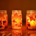 Lovely Fall leaf Mason Jar Lanters
