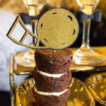 Black and gold Oscar Party- Brownie Bites!
