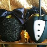 Black and gold Oscar Party- Tuxedo Caramel Apples
