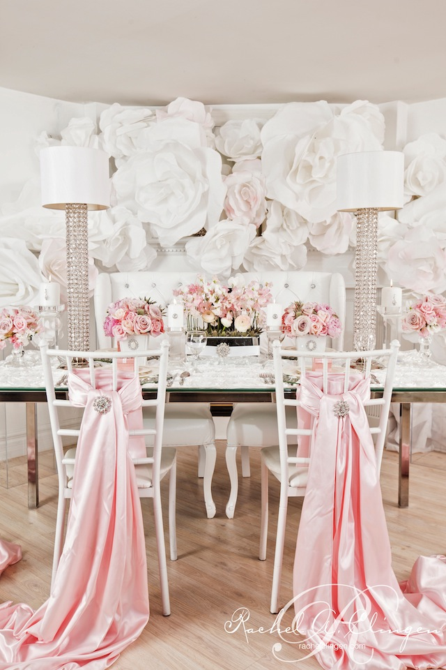paper flower glitz glam table