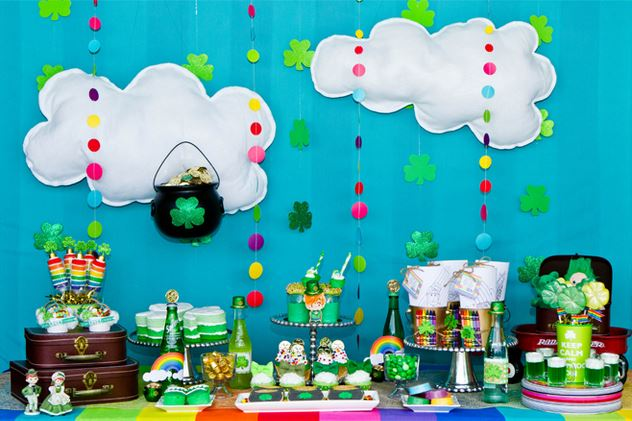 St. Patrick's Day pot of gold dessert table