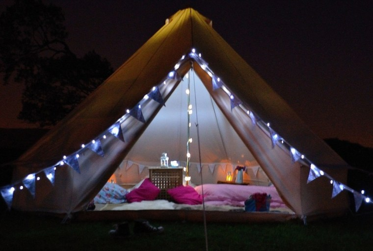 A lovely glamping tent for a bridal shower