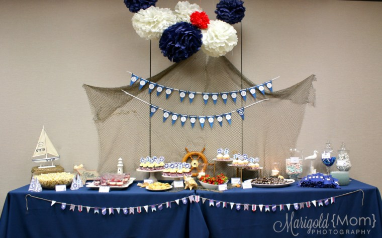 Great red white and blue nautical boys birthday party