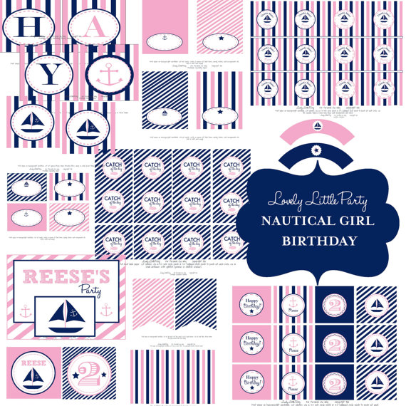 nautical pink and navy girls party set