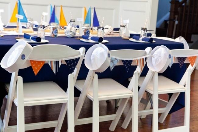 vintage nautical birthday party dessert table tablescape decor