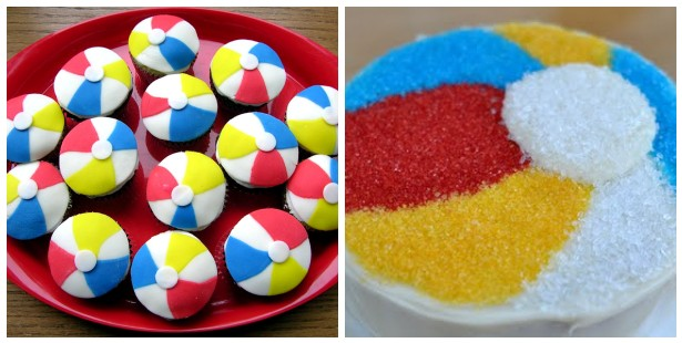 beach ball cake and cupcake ideas