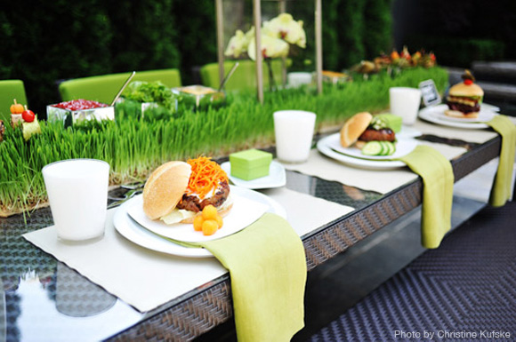 summer burger party tabletop