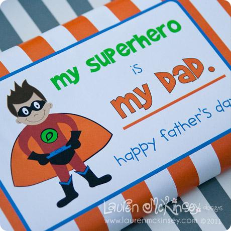 superhero chocolate bar free printable for father's day