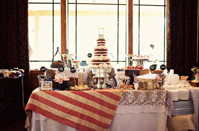 American rustic 4th of July dessert table