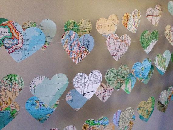 Map heart garland for lovely travel wedding decor