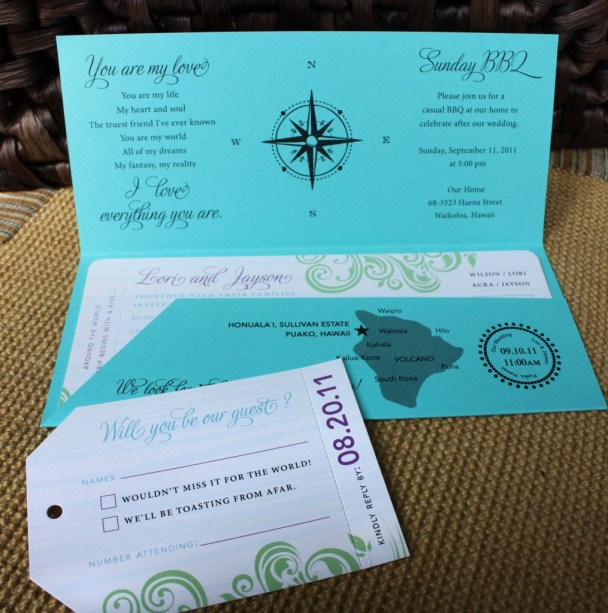 Travel Themed Airline Ticket Wedding Invitation