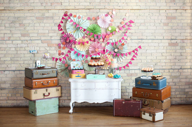 Wedding Travel styled dessert table