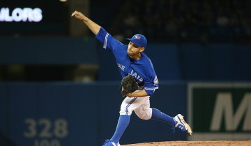 TORONTO, CANADA - APRIL 10: Marco Estrada #25 of the Toronto Blue Jays delivers a pitch in the second inning during MLB game action against the Boston Red Sox on April 10, 2016 at Rogers Centre in Toronto, Ontario, Canada. (Photo by Tom Szczerbowski/Getty Images)