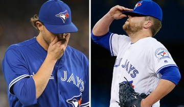 TORONTO, ON - APRIL 26: A frustrated Toronto Blue Jays relief pitcher Drew Storen (45) reacts after hits on him in the ninth inning during their Major League Baseball game against the Chicago White Sox at the Rogers Centre in Toronto, Ontario. Toronto Star/Todd Korol        (Todd Korol/Toronto Star via Getty Images)