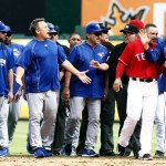 May 15, 2016; Arlington, TX, USA; Toronto Blue Jays manager John Gibbons (5) yells at Texas Rangers manager Jeff Banister (28) after the benches cleared in the eighth inning at Globe Life Park in Arlington. Texas won 7-6. Mandatory Credit: Tim Heitman-USA TODAY Sports