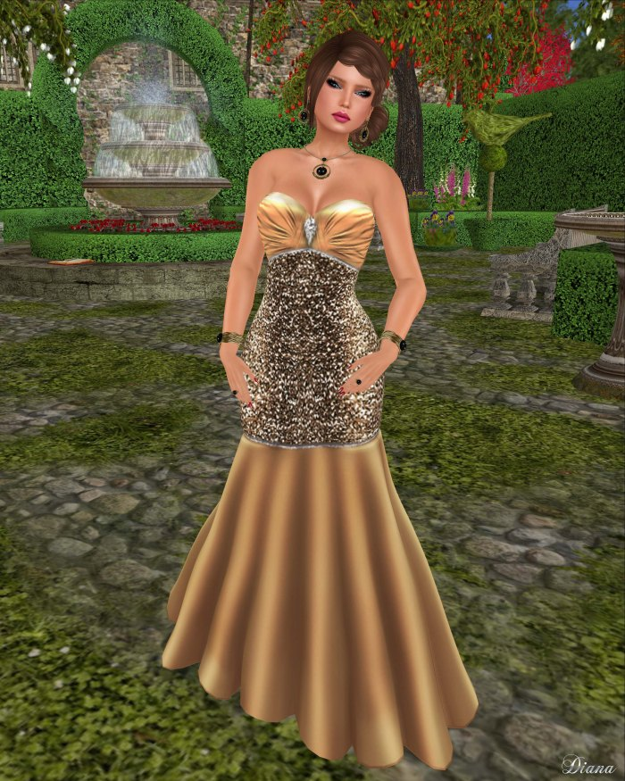 !Rebel Hope - Brandi Mesh Formal Gown 24k Gold