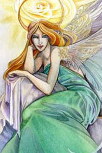 An slender angel with red hair and green robes sits.