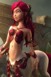 A slender centaur with red hair and a bow stands.
