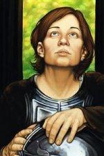 A woman in plate armor gazes upward.