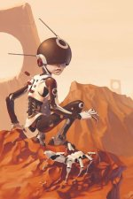 A small cyborg child sits in a red rock landscape.