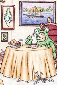 A young man in a toad suit sitting at a dinner table.