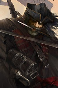 A wind-whipped pirate with a dagger in his teeth clutches a small chest.