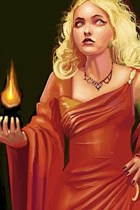 A blond woman in a red dress carries a lit black candle.