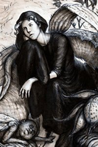 A woman dressed in black is deep in thought, surrounded by strange, spectral figures.