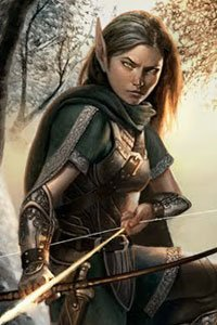 An elf woman in green clothing draws her bow in the forest.