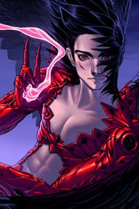 A black-haired man in red biomechanical armor holds a smoldering gauntlet.