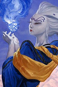 A pale woman with white hair and blue robes holds a swirling white and blue orb.