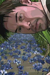 Keanu Reeves as Bob Arctor discovers a field of blue flowers.
