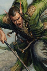 An elf man in green leathers attacks with his spear.