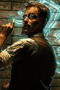A bearded man with round glasses examines glowing runes on a brick wall.