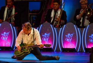 The Brian Setzer Orchestra 25th Anniversary Show at the Hollywood Bowl 8/2/17. Photo by Suzie Kaplan for 906A. Used with permission.