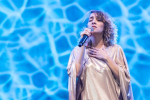 """Gaby Moreno at NPR's """"Turning The Tables"""" @ Damrosch Park 7/26/17. Photo by Vivian Wang (@Lithophyte) for www.BlurredCulture.com."""